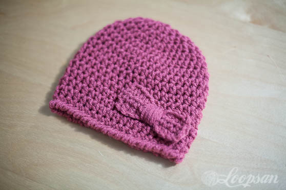 Free Crochet Hat Pattern With Bow : Simple Bow Hat- Free Pattern - Loopsan Crochet Blog